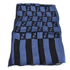 FENDI: Black/Navy Blue, Damier FF Silk Scarf (ar)